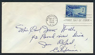 UNITED STATES OF AMERICA 1956 FIRST DAY COVER FDC USA #a284 WASHINGTON CANCEL!