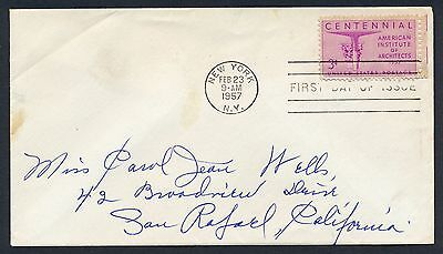 UNITED STATES OF AMERICA 1957 FIRST DAY COVER FDC USA #a288 NEW YORK CANCEL!