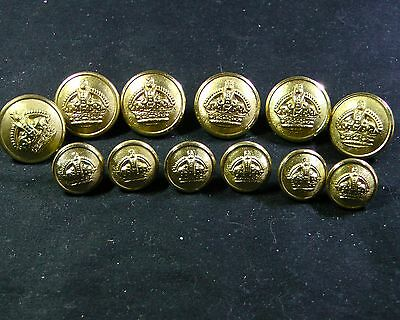 Set of 12 L/S NOS GEORGE V ROYAL HOUSEHOLD Full Dress KING'S CROWN Button Firmin