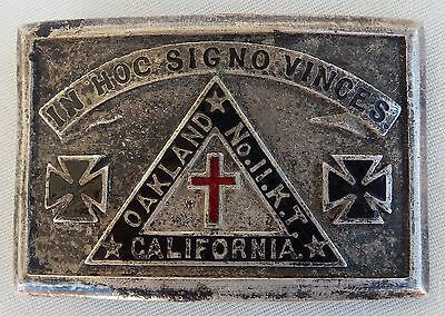 Vintage Knights of Templar OAKLAND CA Iron Cross Belt Buckle In Hoc Signo Vinces