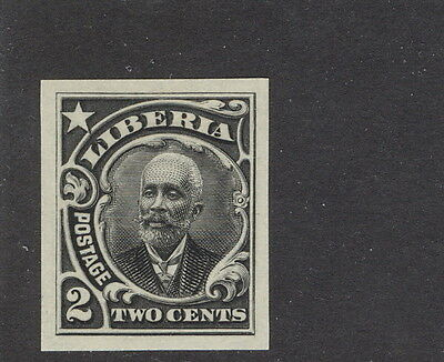 Liberia 1909, 2c president, IMPERFORATE proof in black #116