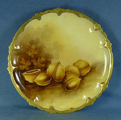 "W.A. Pickard Gold Rim 8 1/2"" Plate, Nut Motif Hand Painted Signed Vokral"