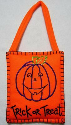 "Hand~Crafted Felt Halloween Trick Or Treat Pumpkin Door/wall Hanging 5"" X 11"""