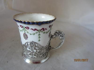 1912 Silver Cased Royal Worcester Coffee Can