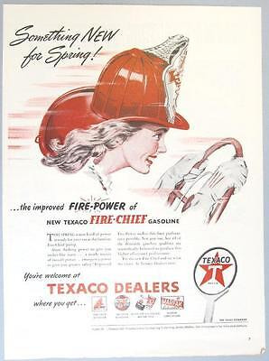 Original 1946 Texaco Fire Chief Ad SOMETHING NEW FOR SPRING IMPROVED FIRE CHIEF