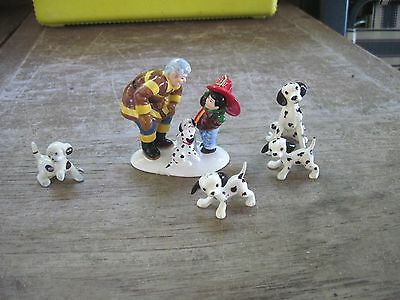 Miniature Porcelain Dalmatian Figurines..Fireman is Dept. 56, Others Not Marked