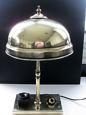 ANTIQUE BANKERS BRASS LAMP - INKWELL PEN REST - REWIRED - Machine Age Steampunk