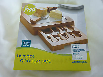 Food Network Bamboo Cheese Set, Cutting Board w Drawer and Tools, NIB