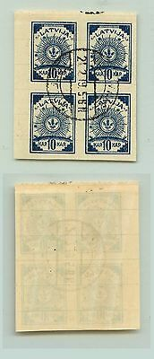 Latvia, 1919, SC 4, used, center on the top, block of 4. f2878