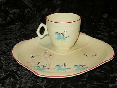 "RARE VINTAGE BESWICK ""CIRCUS"" Combined Plate & Saucer with Tea Cup 1950s"
