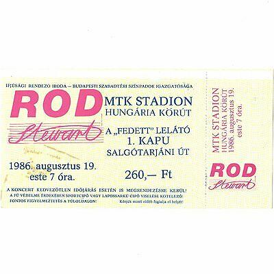 ROD STEWART Full Concert Ticket Stub BUDAPEST HUNGARY 8/19/86 MTK THE FACES