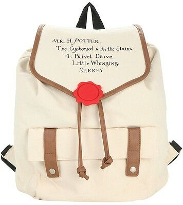 Harry Potter Hogwarts Letter Slouch Canvas Backpack Purse New Wizard Gift