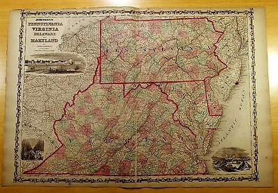 Antique Map ORIGINAL 1860 VIRGINIA PENNSYLVANIA MARYLAND DELAWARE 26 1/4 x17 7/8