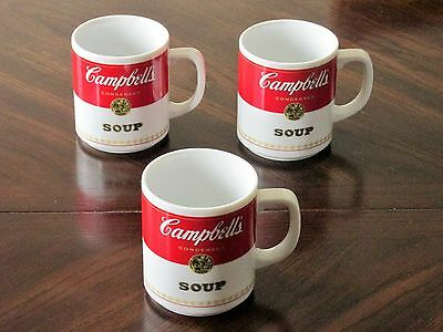 (3) Campbell's Soup Unused Corning Glass Works Coffee Tea Mugs Lot  Advertising