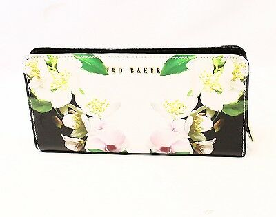 Ted Baker NEW Black Floral Bifold Leather Organizer Clutch Wallet $159- #001