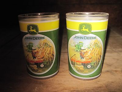 Two Plastic John Deere 4oz. Drinking Glasses.. Cute.. Free Shipping