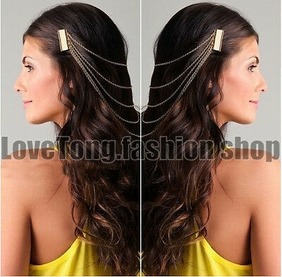 Fashion Gold Plated Alloy Chains Tassels Hair Comb Jewelry Women Fashion Gift