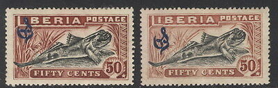 Liberia 1918, 50c fish official, two copies, light and dark SHADES #O106