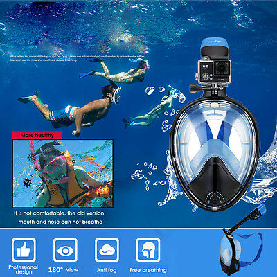 Full Face Snorkel Mask Scuba Diving Snorkelling Set Fr GoPro Swim 180° View 52''