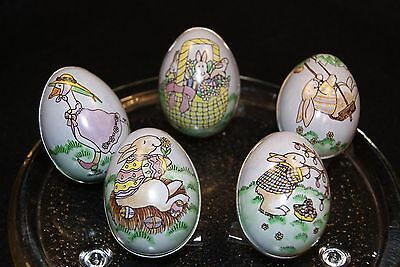 Lot of 5 Tin Litho Easter Egg Candy Containers Bunny Goose – New w/Tags