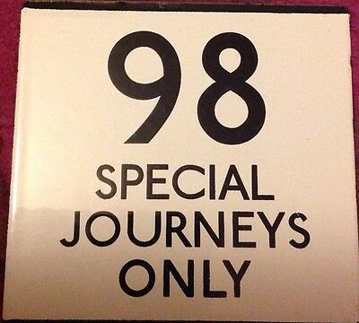 London Transport Bus Stop Enamel E Plate Route 98 Ruislip Special Journeys Only