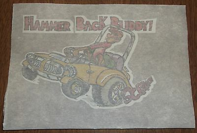 "Vintage 1976 Iron On Heat Transfer ""Hammer Back Buddy!"" Hot Rod Drag Racing"