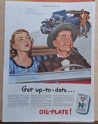 1948 magazine ad for Conoco Nth Motor Oil - couple smirks at broken down jalopy