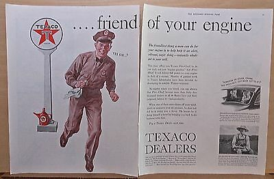 1937 two page magazine ad for Texaco - friend of your engine, station attendant