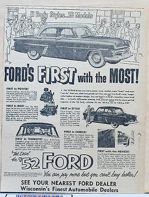 Vintage 1952 newspaper ad for Ford - First With the Most! 1952 Ford illustration