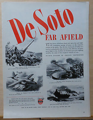1943 magazine ad for De Soto - WW2 war production, cannon, tanks, bombers, ships