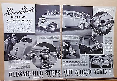 1937 two page magazine ad for Oldsmobile, Show Shots New American Style for 1938