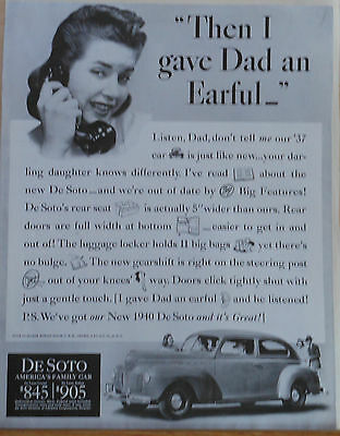 1940 magazine ad for De Soto  - daughter gives dad an earful, wants 1940 car