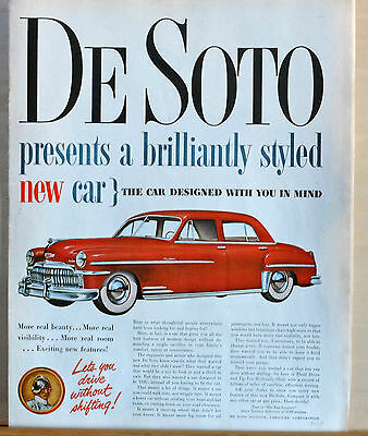 Vintage 1949 magazine ad for DeSoto - red DeSoto, Brilliantly Styled car