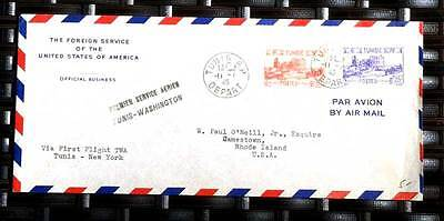 Tunisia -1946 Envelope Sent By Foreign Service Usa Via Twa Ff Tunis - New Youk