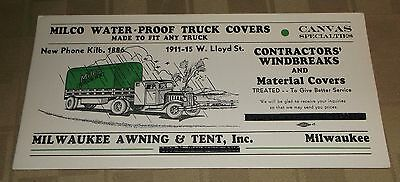 Vintage Ink Blotter - Milco Waterproof Truck Covers Milwaukee Awning & Tent Inc