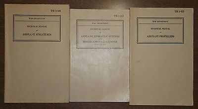 1941 WWII Booklets - Airplane Structures Propellers Hydraulic Systems -Technical
