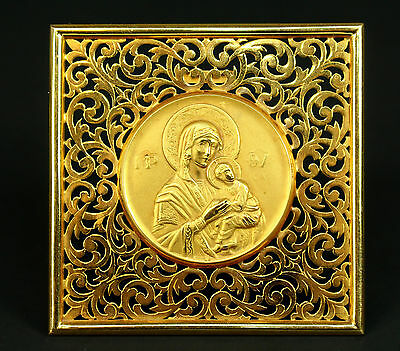 * FINE 14K SOLID GOLD Icon MOTHER & CHILD Virgin Mary Jesus Russian Orthodox