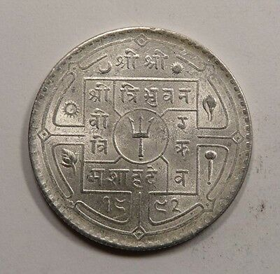 Nepal King Tribhuvana Silver Rupee 1935 UNC with Mint LUSTER