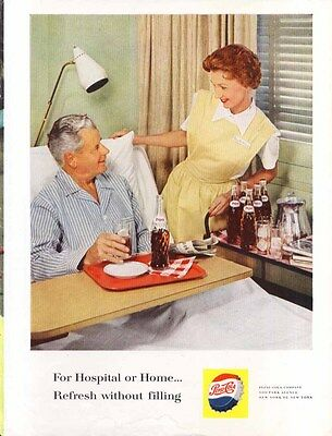Pepsi Hospital or Home… Refresh without filling ad 1960
