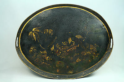 "* Antique Tole Tinware Hand Painted Large 26"" Tray w. Birds Platter Tin"