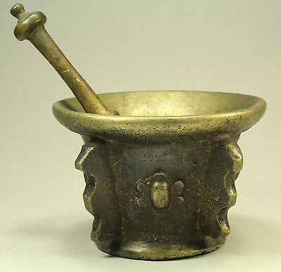 =1500s-1600's Lg French Bronze Pharmaceutical Mortar & Pestle Apothecary Alchemy