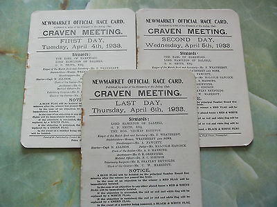 Newmarket 1933 Craven Meeting ~ Race Cards For All 3 Days, April 4Th, 5Th & 6Th