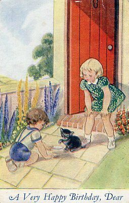 VINTAGE OUR KIDDIES BIRTHDAY GREETING postcard of CHILDREN WITH A KITTEN CAT