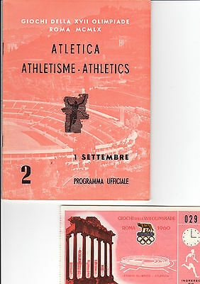 OLYMPIC MEMORABILIA -  1960 ROME OLYMPICS - programme & ticket - 1st September
