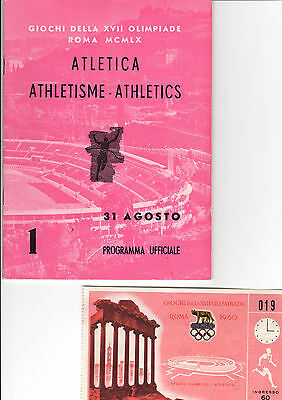 OLYMPIC MEMORABILIA -  1960 ROME OLYMPICS - programme & ticket - 31st August