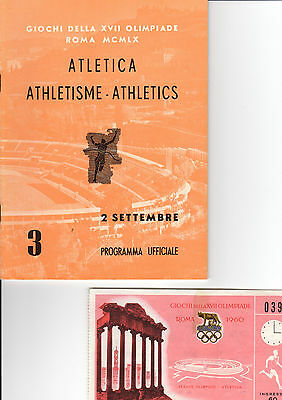 OLYMPIC MEMORABILIA -  1960 ROME OLYMPICS - programme & ticket - 2nd September
