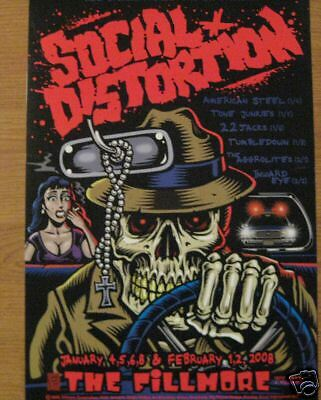 SOCIAL DISTORTION FILLMORE POSTER Inward Eye 22 Jacks Aggrolites F912 J Phillips