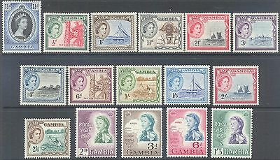 GAMBIA 1953 QEII Coronation Pictorial Set to 2/6d Royal Visit Set Mint