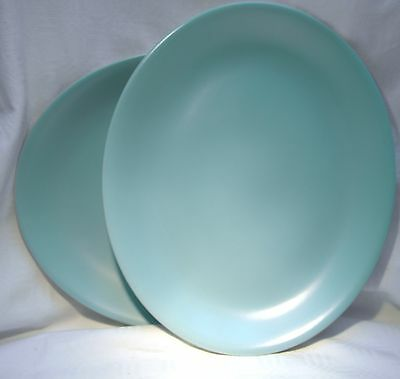 Poole Pottery Twintone Ice Green  Oval Steak Plate X 2 ... 6 Pairs Available
