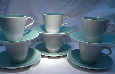 Poole Pottery Twintone Ice Green & Seagull  Cup & Saucer X 6